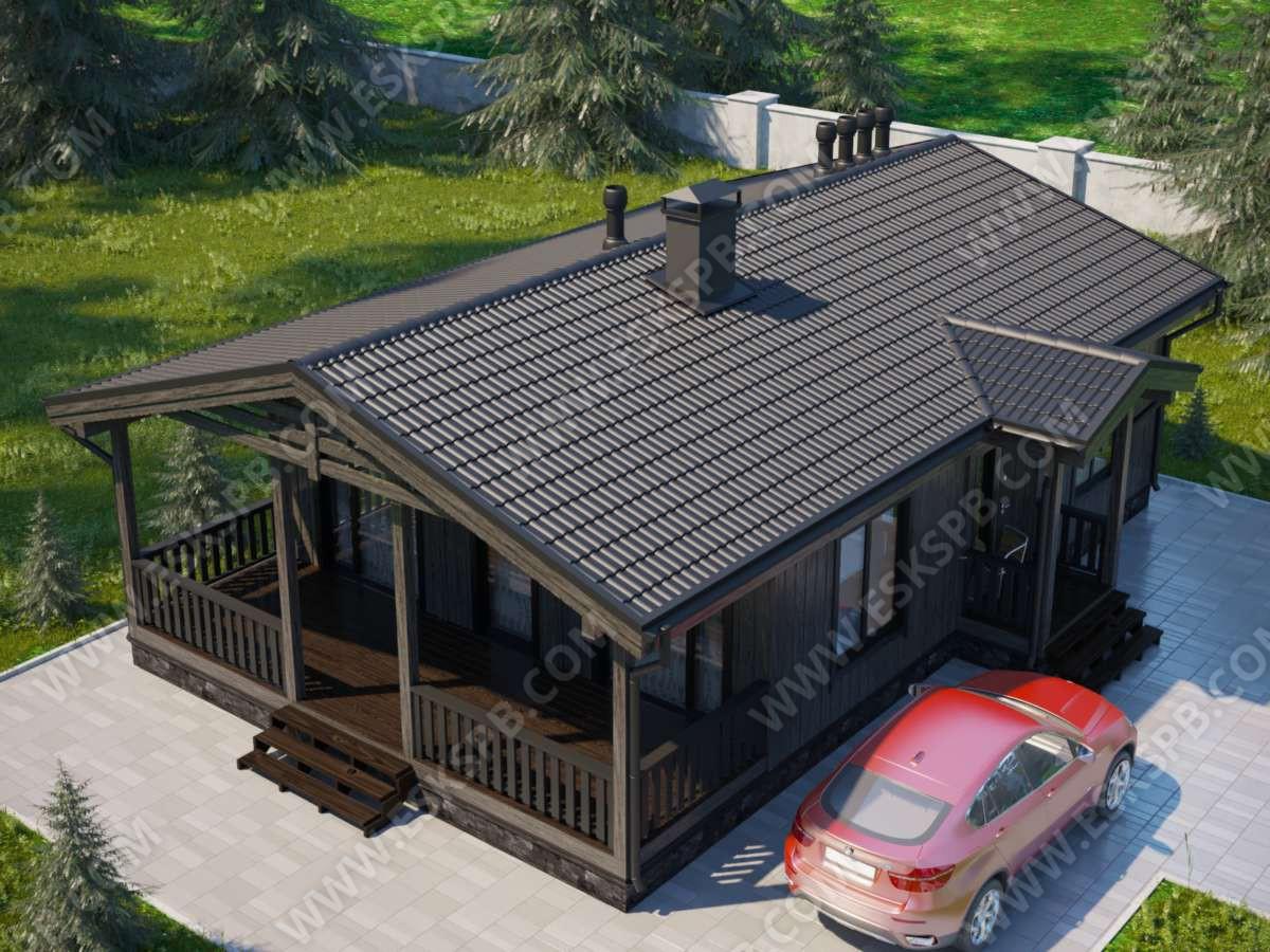 Новый проект одноэтажного каркасного дома «Дымчатый»