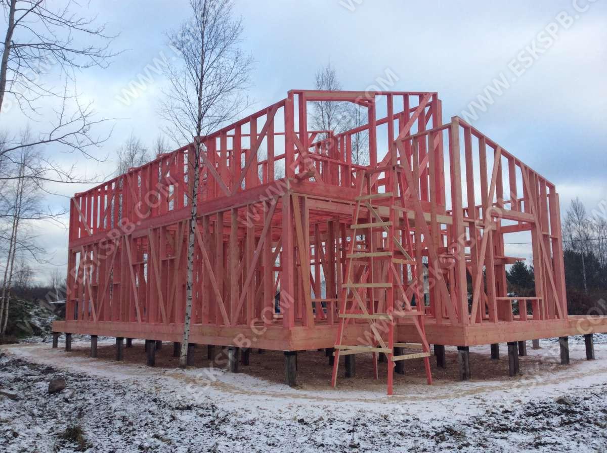 Строительство каркасного дома по проекту «Иматра» в деревне Коккорево, Всеволожского района.